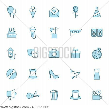 Party Line Vector Icons In Two Colors Isolated On White Background. Birthday Party Celebration Blue