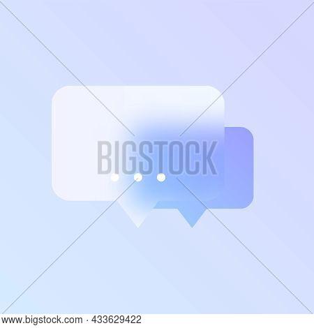 Speech Bubble Glass Morphism Trendy Style Icon. Speech Bubble Transparent Glass Color Vector Icon Wi