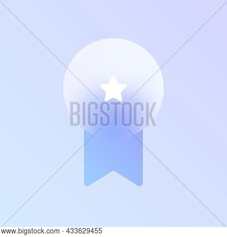 Award Glass Morphism Trendy Style Icon. Medal Award Transparent Glass Vector Icon With Blur And Purp