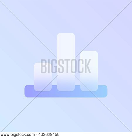 Chart Glass Morphism Trendy Style Icon. Graph Transparent Glass Color Icon With Blur And Purple Grad