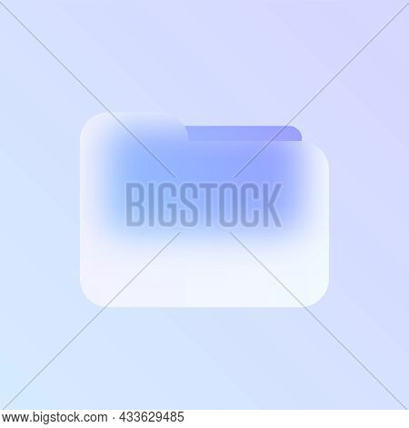 Folder Glass Morphism Trendy Style Icon. Folder Transparent Glass Color Icon With Blur And Purple Gr