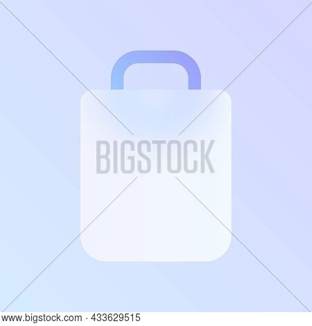 Shopping Bag Glass Morphism Trendy Style Icon. Shopping Bag Transparent Glass Vector Icon With Blur