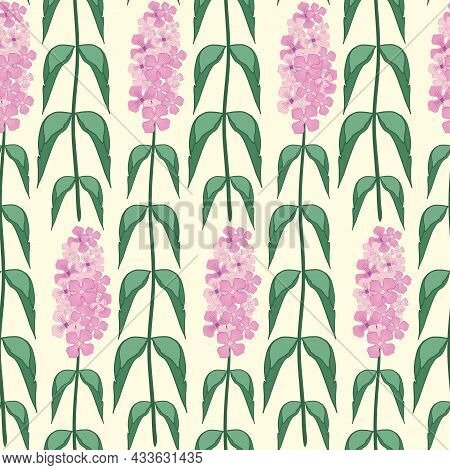 Buddleia Seamless Vector Pattern Background. Known As Butterfly Bush. Hand Drawn Clusters Of Pink Pu