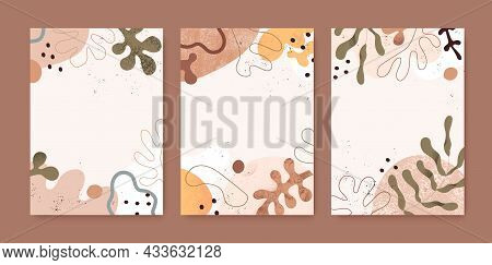Set Of Modern Backgrounds With Abstract Organic Shapes And Leaf. Card Designs With Geometric Fluid B