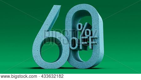 Up To 60% Off Special Offer, Sale Up To 60 Percent Off On Green Background, 3d Render