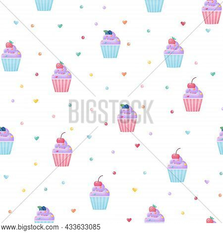 Seamless Pattern With Cute Cupcakes With Strawberries , Strawberries, Blueberries And Cherries On A