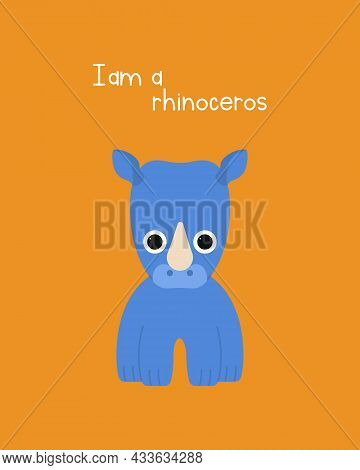 Cute Rhinoceros Illustration Isolated On Colored Background. Simple Illustrations For A Childrens Bo