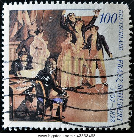 stamp printed in Germany shows Franz Schubert