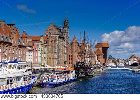 View Of The Motlawa River Waterfront In The Historic Old Town Pf Gdansk