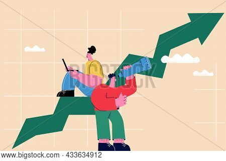 Business Growth Concept, Arrow Showing Progress, Chart Rise, Graph Going Up, Leadership And Business
