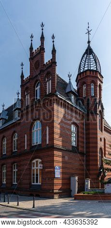Historic Red Brick Gothic Architecture Building In Downtown Gniezno