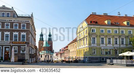 The Historic Old City Center Of Gniezno With The Cathedral In The Background
