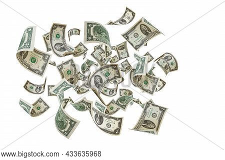 Two Dollars. Money Is Falling. Isolated White Background