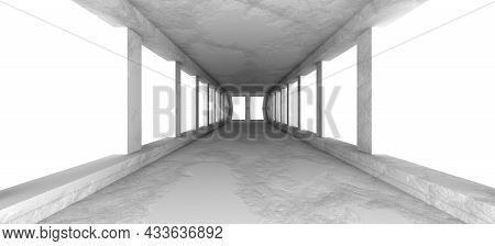 Abstract Architecture Design. Interior Concept. Gray Corridor With Windows. Minimal Modern Design. 3