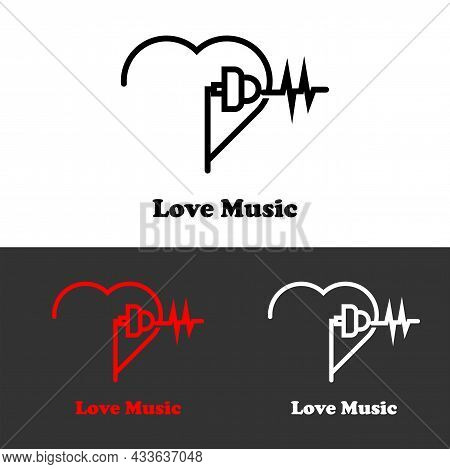 Love Music Mobile Wave Music Icon Logo For Music Web Music Applications, Music T-shirts, Recording M