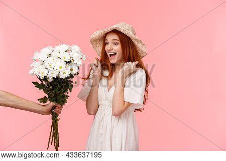 Happy Moments, Romance And Relationship Concept. Joyful And Surprised Cute, Lovely Redhead Girl Jump