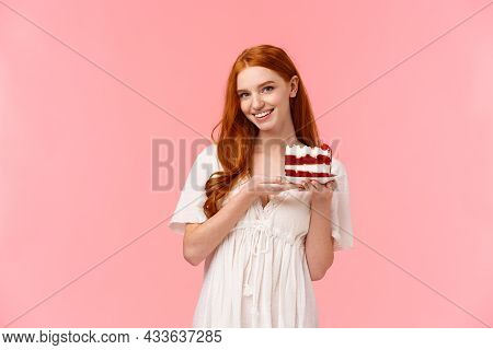 Lovely, Romantic And Alluring Redhead Girlfriend Baked Delicious Surprise For Valentines Day Date, H