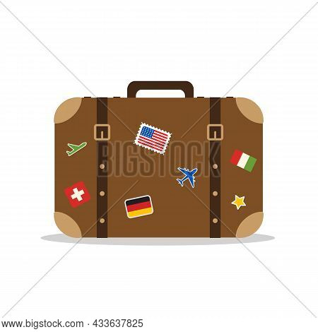 Luggage Travel Isolated On White Background.travel Suitcase With Stickers. Travel Concept. Vector St