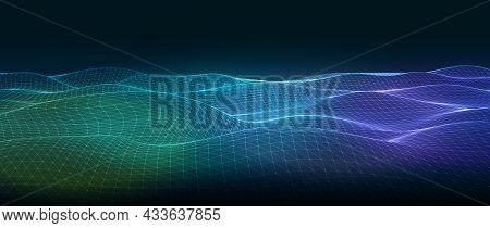Abstract Technology Background. Wire Network Futuristic Wireframe On Dark Blue Background. Modern Fu