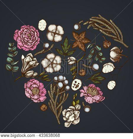 Heart Floral Design On Dark Background With Ficus, Eucalyptus, Peony, Cotton, Freesia, Brunia Stock