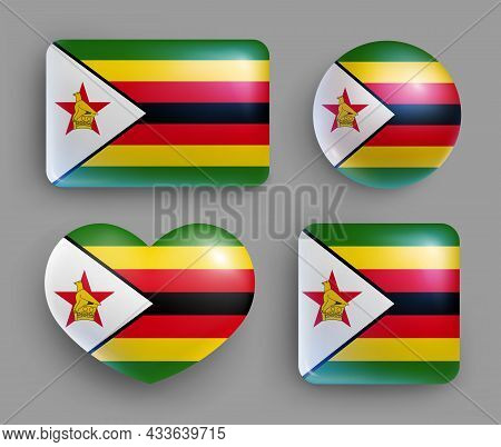 Set Of Glossy Buttons With Zimbabwe Country Flag. Southern Africa Republic National Flag, Shiny Geom