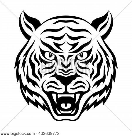 Head Of Ferocious Tiger Black And White Design. Silhouette Of Roaring Tiger Face. Symbol Of The 2022