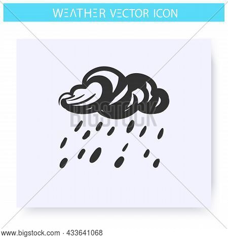 Shower Icon. Hand Drawn Sketch. Heavy Rain. Cloud With Raindrops. Rainfall. Overcast And Rainy Weath
