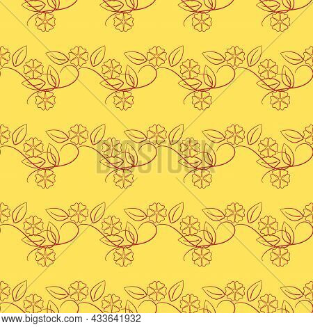 Summer Romantic Pattern With Red Flowers On Yellow. Decorative Green Elegant Romantic Seamless Patte