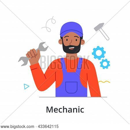 Smiling Male Character Is Enjoing Working As A Mechanic On White Background. People Like Their Job.