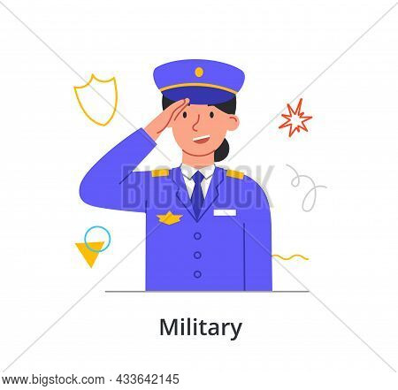 Cheerful Female Character In Uniform Enjoing Working Ain Military On White Background. Concept Of Pe