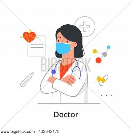 Female Character In Mask Is Enjoing Working As A Doctor On White Background. Various People Working