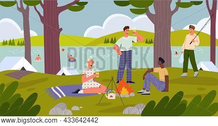 Cheerful Male And Female Characters Having Fun Camping Time At The River Bank Together With Friends.