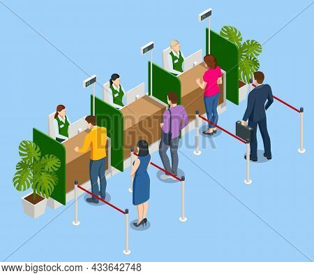 Isometric Customers Getting Served At The Counter In Bank. Visitors In Bank.