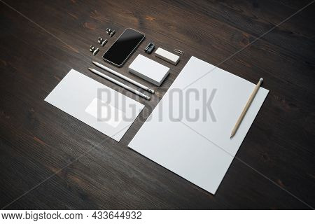 Blank Stationery Set On Wood Table Background. Corporate Identity Template. Responsive Design Mockup