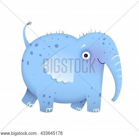 Funny Imaginary Elephant Drawing For Kids And Children, African Humorous Safari Animal. Isolated Vec