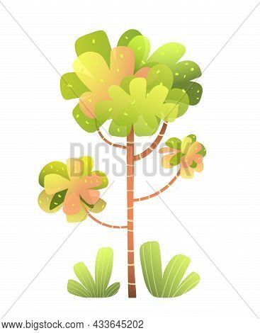 Tree And Bush Cute Watercolor Style Cartoon For Children Design. Imaginary Stylised Trees And Bushes
