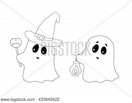 The Outline Of The Ghost In A Hat And Ghost With A Lanternn. Hand Drawn Cartoon Illustration