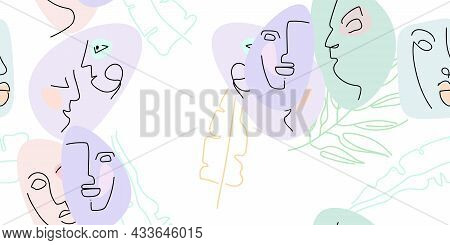 Face Line Pattern. Abstract Drawing Seamless Pattern. Vector Modern Minimal Art. Graphics Contour Ba