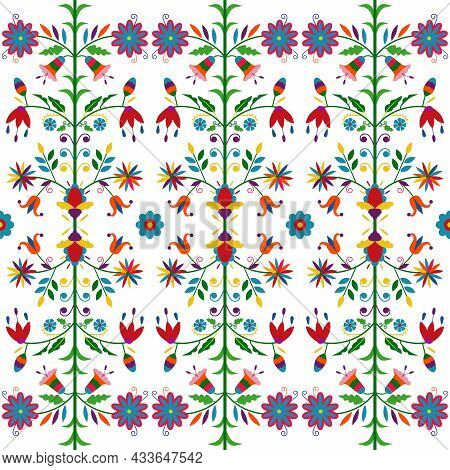 Ethnic Floral Composition Isolated On White Background. Mexican Traditional Otomi Embroidery Style.