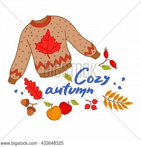 Cozy Autumn Elements Set. Hand Lettering. Cozy