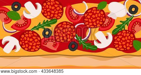Background Pizza With Salami Onions Tomatoes And Olives. Vector Illustration. A Concept For Stickers