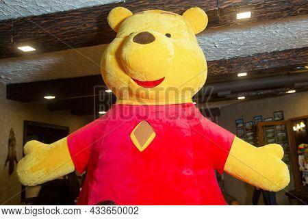 Azerbaijan Baku .09.01.2021. Yellow Teddy Bear Mascot Costumes . Teddy Bear Costumes Cheap . Fur Ted