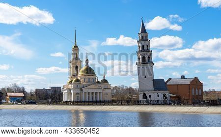 Leaning Tower Of Nevyansk And Old Believers' Church (domed) In Spring Day On The Shore Of The Pond I