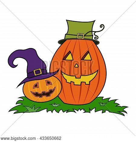 Cartoon Halloween Pumpkins Wearing Witch Hat. Halloween Pumpkin. Happy Halloween Holiday. Decoration