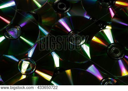 Pile Of Cds Used For Storing Data, Audio And Video