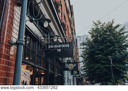 London, Uk - September 03, 2021: Sign Outside Dr Martens Shop Within Spitalfields Market, One Of The