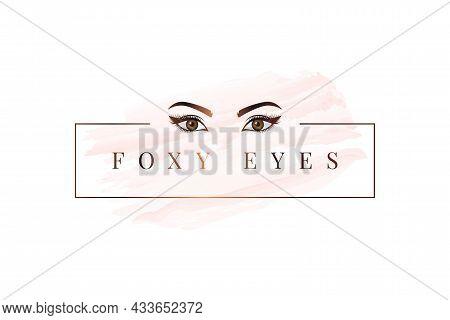 Foxy Eyes Logo. Rose Gold Eyes Logo On White