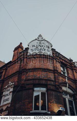 London, Uk - September 03, 2021: Low Angle View Of The Name On Kings Stores Pub In East End Of Londo