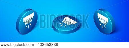 Isometric Smoke Alarm System Icon Isolated On Blue Background. Smoke Detector. Blue Circle Button. V