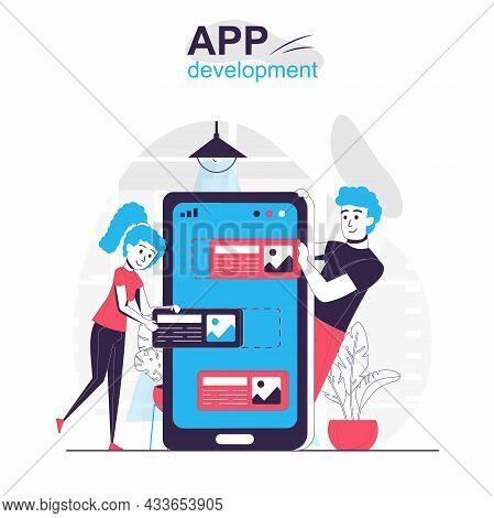 App Development Isolated Cartoon Concept. Developers Team Creates Ui Layout Design For App, People S
